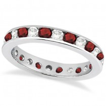 Channel-Set Garnet & Diamond Eternity Ring 14k White Gold (1.50ct)