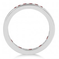 Channel-Set Garnet & Diamond Eternity Ring 14k White Gold (1.50ct)|escape
