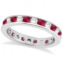 Channel-Set Ruby & Diamond Eternity Ring 14k White Gold (1.50ct)