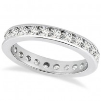 Channel Set Diamond Eternity Ring Band 14k White Gold (1.50 ct)