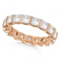 Bar-Set Princess Cut Diamond Eternity Ring Band 18k Rose Gold (1.15ct)