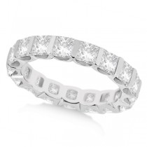 Bar-Set Princess Cut Diamond Eternity Ring Band 18k White Gold (1.15ct)