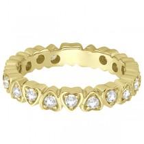 Pave Set Heart Shaped Diamond Eternity Band 14k Yellow Gold (0.60ct)