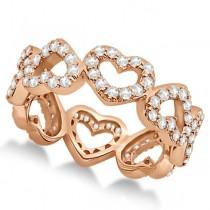 Eternity Interlocking Hearts Diamond Ring 14k Rose Gold (1.00ct)