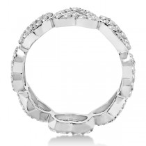 Eternity Interlocking Hearts Diamond Ring 14k White Gold (1.00ct)