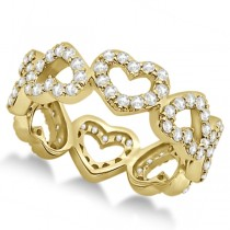 Eternity Interlocking Hearts Diamond Ring 14k Yellow Gold (1.00ct)