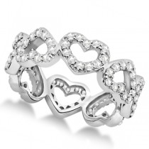 Eternity Interlocking Hearts Diamond Ring Palladium (1.00ct)