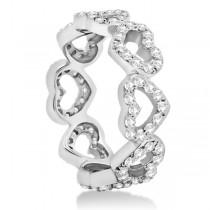 Eternity Interlocking Hearts Diamond Ring Palladium (1.00ct)