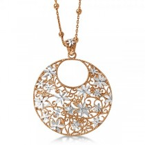 Flower Circle Fashion Pendant Necklace Rose Gold Over Sterling Silver