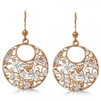 Flower Circle Dangling Drop Earrings in Rose Plated Sterling Silver