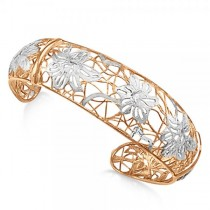 Flower Cuff Bangle Bracelet in Rose Gold Plated Sterling Silver