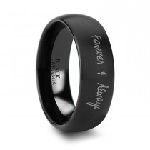 Brushed Finish Handwritten Engraved Domed Tungsten Ring (10MM)