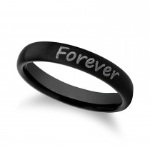 Brushed Finish Handwritten Engraved Domed Tungsten Ring (4MM)