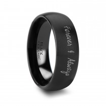 Brushed Finish Handwritten Engraved Domed Tungsten Ring (6MM)