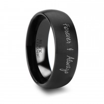 Brushed Finish Handwritten Engraved Domed Tungsten Ring (8MM)