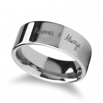 Handwritten Engraved Flat Pipe Cut Tungsten Ring (10MM)