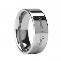 Handwritten Engraved Flat Pipe Cut Tungsten Ring (10MM)
