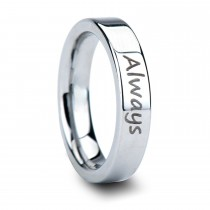 Handwritten Engraved Flat Pipe Cut Tungsten Ring (4MM)