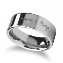 Handwritten Engraved Flat Pipe Cut Tungsten Ring (6MM)