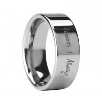 Handwritten Engraved Flat Pipe Cut Tungsten Ring (8MM)