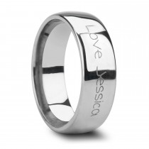 Handwritten Engraved Domed Tungsten Ring (10MM)