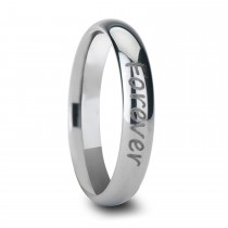 Handwritten Engraved Domed Tungsten Ring (4MM)