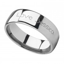 Handwritten Engraved Domed Tungsten Ring (6MM)