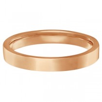 Flat Comfort Fit Plain Ring Wedding Band 14k Rose Gold (3mm)