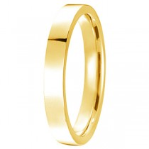 14k Yellow Gold Plain Wedding Band Flat Comfort Fit Plain Ring (3mm)
