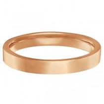 Flat Comfort Fit Plain Ring Wedding Band 18k Rose Gold (3mm)|escape