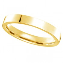 18k Yellow Gold Wedding Band Plain Ring Flat Comfort-Fit (3mm)