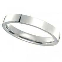 950 Palladium Wedding Band Plain Ring Flat Comfort Fit for Women (3mm)