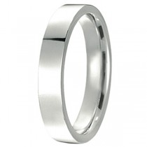 18k White Gold Wedding Band Flat Comfort-Fit Ring (4 mm)