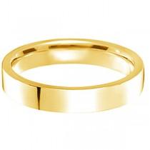 18k Yellow Gold Wedding Band Plain Ring Flat Comfort-Fit (4 mm)