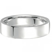 14k White Gold Wedding Band Plain Ring Flat Comfort-Fit (5 mm)