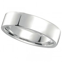 18k White Gold Wedding Band Flat Comfort-Fit (5 mm)