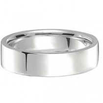 18k White Gold Wedding Band Flat Comfort-Fit (5 mm)|escape