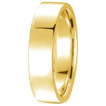 18k Yellow Gold Wedding Band Plain Ring Flat Comfort-Fit (5 mm)
