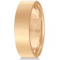 Flat Comfort Fit Plain Ring Wedding Band 14k Rose Gold (6mm)
