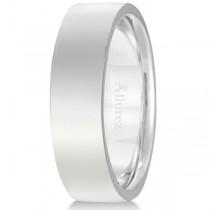 14k White Gold Wedding Band Plain Ring Flat Comfort-Fit (6 mm)