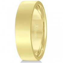 18k Yellow Gold Wedding Band Plain Ring Flat Comfort-Fit (6 mm)