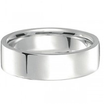 18k White Gold Wedding Band Flat Comfort-Fit Ring (7 mm)|escape