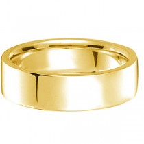18k Yellow Gold Wedding Band Plain Ring Flat Comfort-Fit (7 mm)