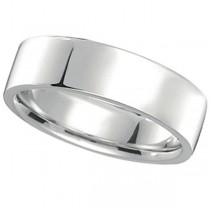 950 Platinum Plain Wedding Band Flat Comfort-Fit Ring (7 mm)