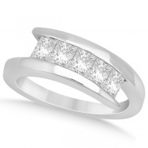 Five Stone Princess Diamond Ring Tension Set 14k White Gold (0.50ct)