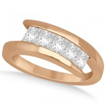 Five Stone Princess Diamond Ring Tension Set 18k Rose Gold (0.50ct)