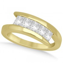 Five Stone Princess Diamond Ring Tension Set 18k Yellow Gold (0.50ct)