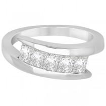 Five Stone Princess Diamond Ring Tension Set Palladium (0.50ct)