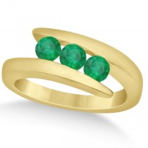 Emerald Three Stone Journey Ring Tension Set in 14K Yellow Gold 0.72ct