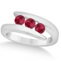 Ruby Three Stone Tension Set Journey Ring 14K White Gold 0.90ctw